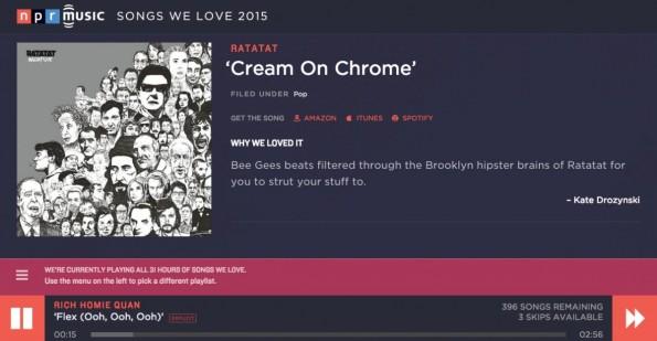 """5. Die Playlist """"Songs We Love"""" of 2015. (Screenshot: NPR)"""