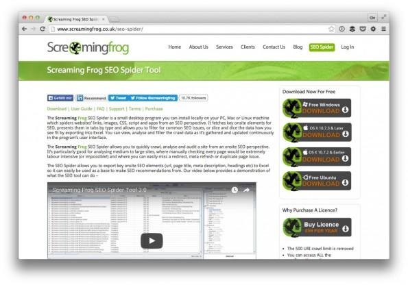 Für fortgeschrittene Nutzer ein Must-have: der Screaming Frog. (Screenshot: t3n)