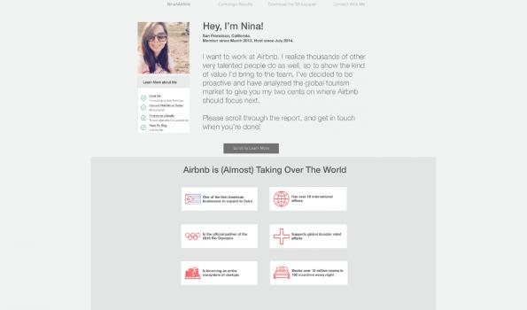 Ninah Mufleh sorgte mit einem Online-Lebenslauf im Corporate Design von Airbnb für Aufsehen. (Screenshot: t3n)