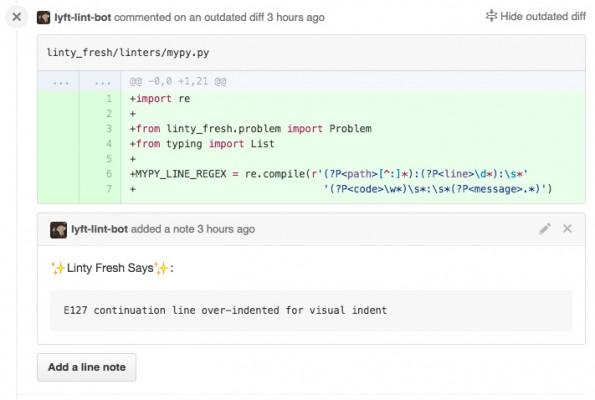 Linty Fresh: Die Ergebnisse der Code-Analyse werden als GitHub-Kommentare angezeigt. (Screenshot: Lyft)