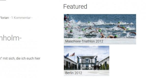 Das Featured-Galleries-Widget auf der Demo-Site des WordPress-Themes. (Screenshot: eigene Installation; Bilder: Dennis Brinkmann)