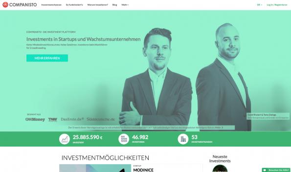 Schon ab fünf Euro steigt man bei Companisto in vielversprechende Jungfirmen als Investor ein. (Screenshot: t3n)