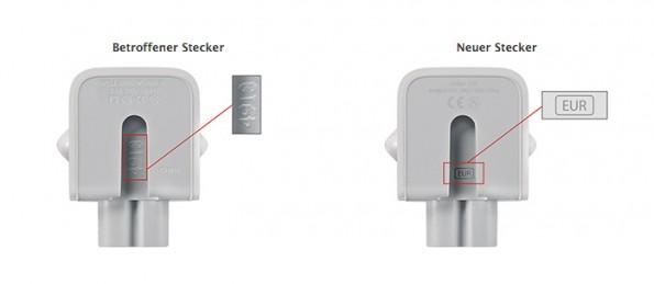 Apple: Fehlerhafte Netzteilstecker-Adapter sind mit vier oder fünf Zeichen oder überhaupt nicht markiert. (Screenshot: Apple.com)