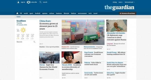 Der Guardian macht seine Inhalte frei online verfügbar. (Screenshot: The Guardian)