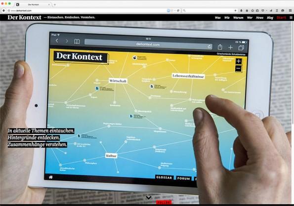 """Startseite des neuen Hintergrundmagazins """"Der Kontext"""". (Bild: derkontext.com)"""