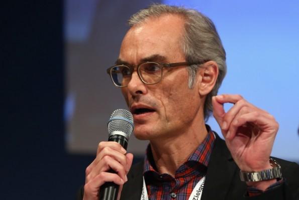 """""""Katzen sind süß – also ist das sehr relevanter Content"""", sagt Gründerszene Chefredakteur Frank Schmiechen. (Foto: dfv Conference Group"""