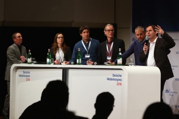 Die Online-Chefredakteursrunde auf dem Deutschen Medienkongress 2016. (Foto: dfv Conference Group