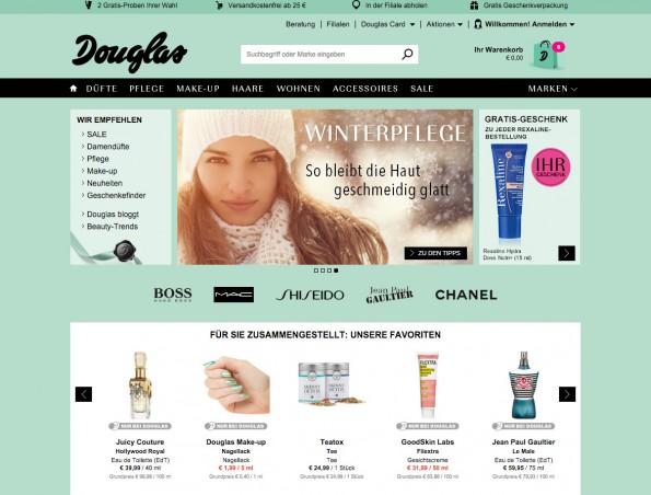 "Mit den ""Beauty Tablets"" setzt Douglas auch im stationären Handel auf moderne Technologien. (Screenshot: douglas.de)"