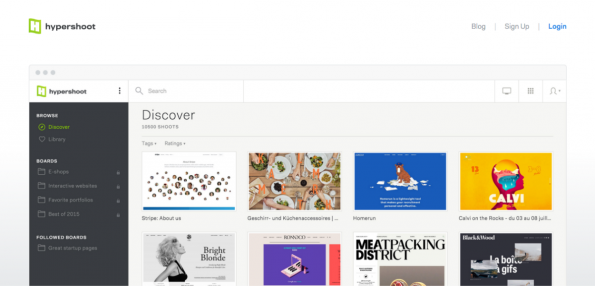 Mit Hypershoot lassen sich visuell ansprechende Websites einfach speichern und organisieren. (Screenshot: t3n)