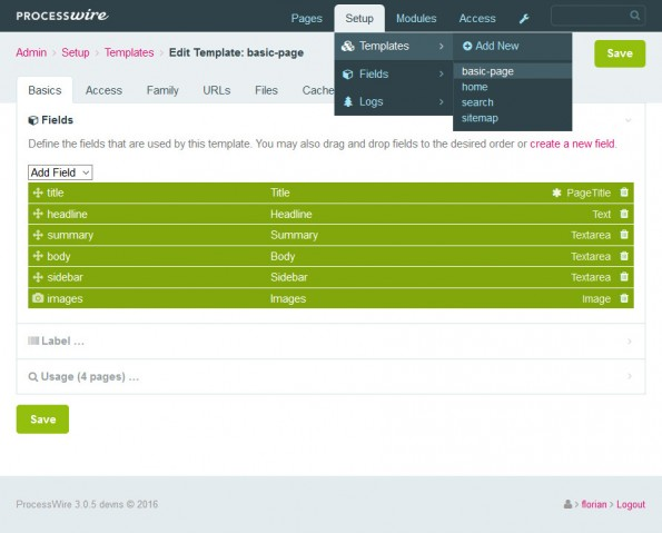 """Ansicht des Templates """"basic-page"""" mit den zugehörenden Feldern. (Screenshot: eigene Installation)"""