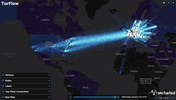 TorFlow visualisiert Datenströme des Tor-Netzwerks. (Screenshot: TorFlow)