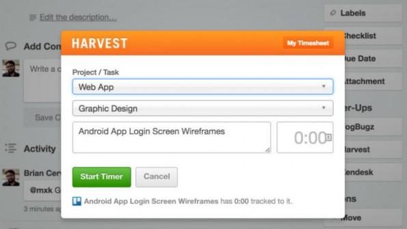 Mit den integrierten Tools müssen User Trello nicht mehr verlassen, um etwa die Arbeitszeit zu erfassen. (Bild: Trello)