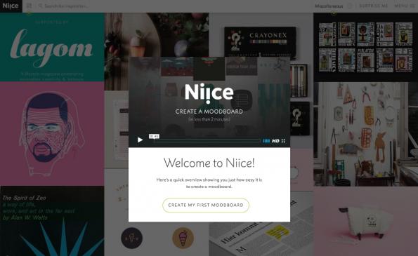 Niice ist kostenlos und bietet dir eine gute Moodboard möglichkeit. (Screenshot: niice.co)