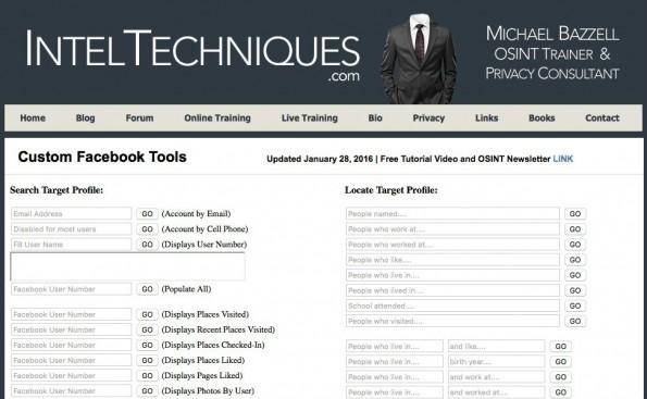 Schnüffel-Tool durchforstet Facebook-Nutzerprofile. (Screenshot: IntelTechniques/t3n)