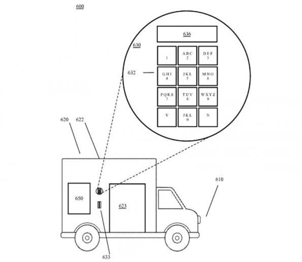 Google-Patent: Code-Schlüssel öffnet Schließfach am autonom fahrenden Lieferwagen. (Bild: USPTA/Google)