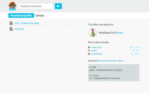 Die Weboberfläche des Keybase Filesystems ist bisher nur als Proof of Concept gedacht. (Screenshot: t3n)