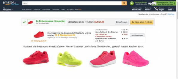 Warenkörbe Onlineshop Empfehlung