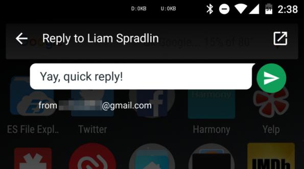 Unter Android auch möglich: Schnelles Antworten direkt aus der Benachrichtigungsleiste. (Screenshot: AndroidPolice)