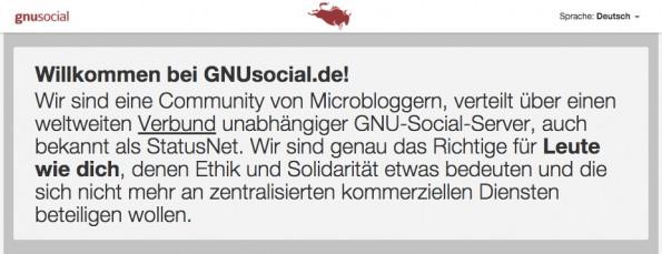 """Ethik und Solidarität GNUSocial.de ist """"eine Community von Microbloggern""""... (Screenshot: t3n.de)"""