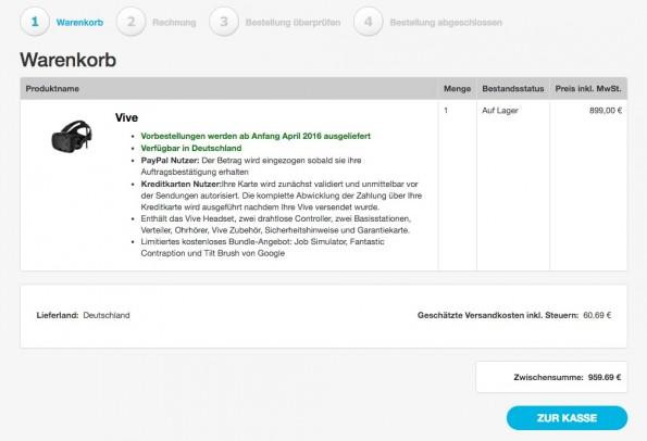 Laut HTC fallen für die Vive zusätzlich zu den 899 Euro noch etwa 60 Euro Steuern und Portokosten an. (Screenshot: HTC)