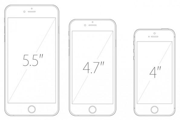 Drei iPhone-Größen im Vergleich.