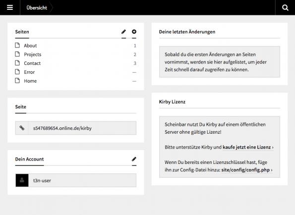 Das Kirby Panel erlaubt alle Einstellungen und Inhalte zu ändern, die sonst über das Dateisystem erfolgen müssten. (Screenshot: Moritz Stückler)