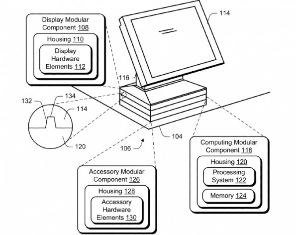 Ein modularer All-in-One-PC nach Vorstellung von Microsoft. (Grafik: Microsoft / United States Patent and Trademark Office)