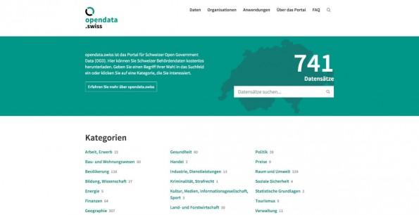 Auf opendata.swiss bündelt die Schweiz ihre Open-Data-Aktivitäten. (Screenshot: opendata.swiss)