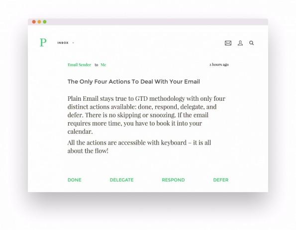 Plain: Bei dem Mail-Client-Konzept navigiert ihr mit der Tastatur in Windeseile durch eure Inbox. (Screenshot: Plain)