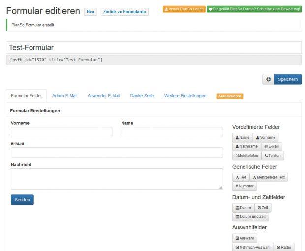 Planso Forms bietet unter anderem auch ein Feld für den Upload mehrere Dateien an. (Screenshot: eigene Installation)