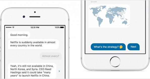 Quartz erinnert vom Aufbau her nicht an eine klassische Nachrichten-App sondern eher an einen Messenger. (Grafik: Quartz)