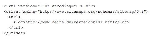 Beispiel einer XML-Sitemap-Datei.