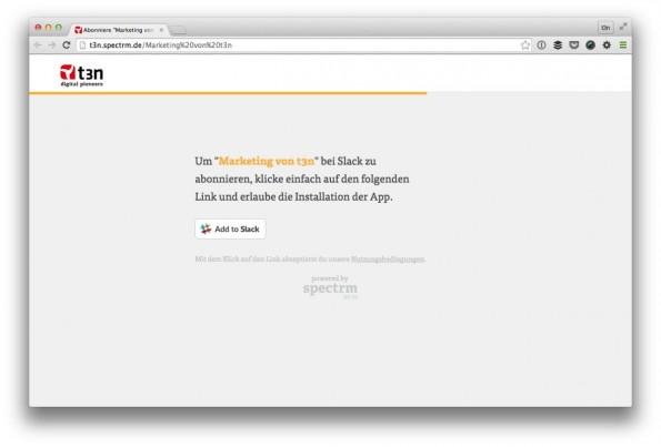 Mit wenigen Klicks abonnierst du t3n per Slack. (Screenshot: t3n/ Spectrm)