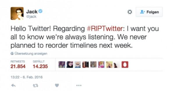 Twitter-CEO Jack Dorsey reagiert auf Gerüchte um neue Twitter-Timeline. (Screenshot: @Jack)