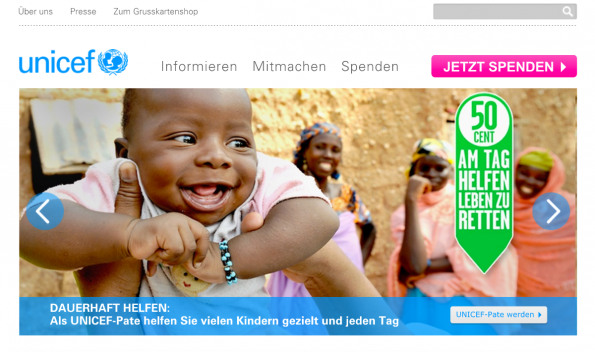 (Screenshot: Unicef.de)