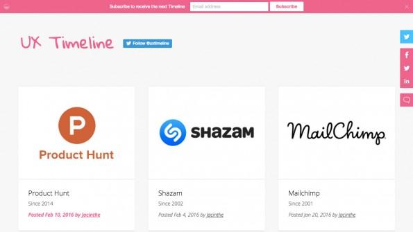 UX-Timeline zeigt, wie sich Startup-Homepages über die Jahre entwickelt haben. (Screenshot: uxtimeline.com)