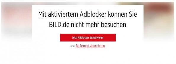 Bild.de sperrt Nutzer mit Adblockern aus. (Screenshot: Bild.de)