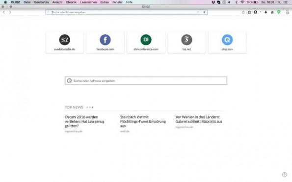 Die Startseite des Cliqz-Browsers (Screenshot: Cliqz)