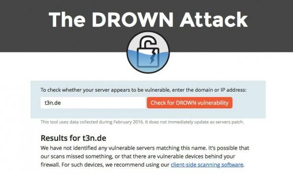 Drown-Attacke: Online-Test zeigt, ob deine Seite betroffen ist. (Screenshot: drownattack.com/t3n.de)