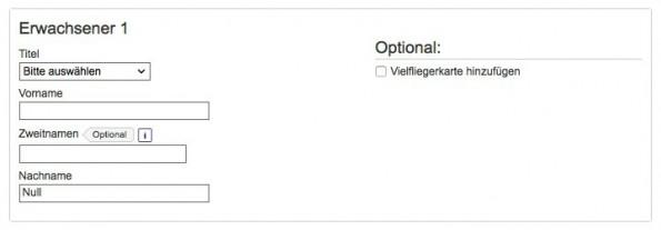 Web-Formular: Flugticket buchen mit dem Namen Null. (Screenshot: Lufthansa)