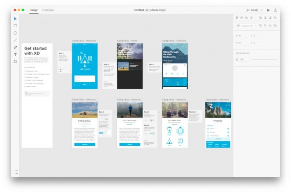 UI-Design mit Adobe Experience Design CC. (Screenshot: Adobe Experience Design CC)