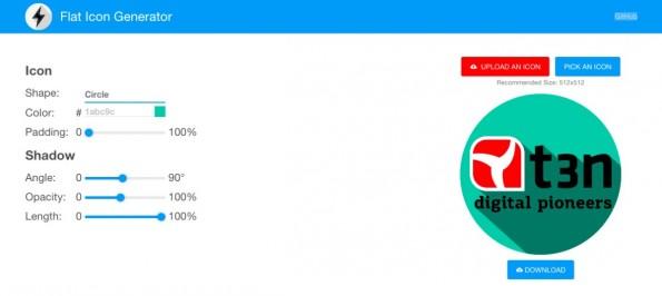 Flat Icon Generator: Mehr als ein paar Klicks sind nicht notwendig. (Screenshot: flat-icon.surge.sh)