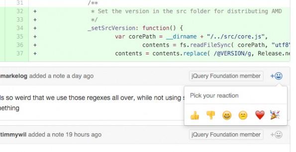 Emojis für Entwickler: Auch GitHub hat jetzt ein Reactions-Feature. (Screenshot: GitHub)