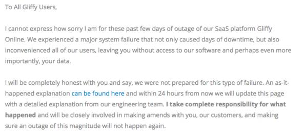 Der Gliffy-Chef entschuldigt sich auf der Webseite für den Ausfall. (Screenshot: Gliffy)
