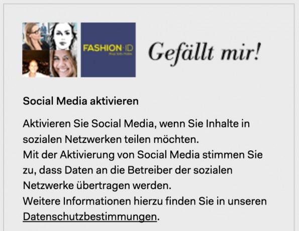 Social-Plugins: Website-Betreiber müssen zukünftig wohl auf eine 2-Klick-Lösung setzen. (Screenshot: Fashion ID)