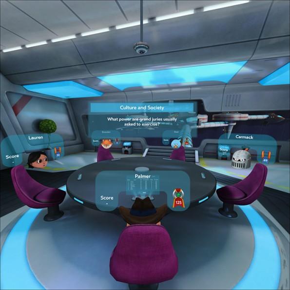 Mit der Gear VR auf der Nase könnt ihr unter anderem mit euren Freunden Trivia-Spiele spielen. (Bild: Oculus)