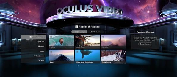 Oculus bietet für die Gear VR einen speziellen Facebook-Video-Kanal für 360-Grad-Clips. (Bild: Oculus)