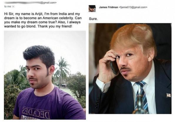 Aussehen wie ein US-Promi mit blonden Haaren? James Friedman denkt dabei an Donald Trump. (Grafik: James Friedman)