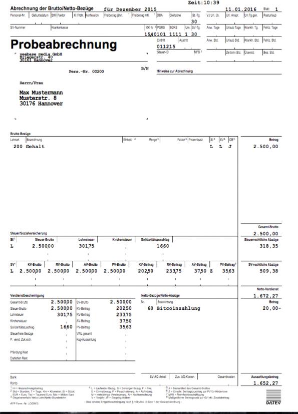 So würde eine Abrechnung eines t3n-Mitarbeiters aussehen der sein Gehalt auch in Bitcoins ausgezahlt bekommt.